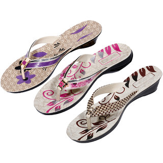 IndiWeaves Womens Purple  Pink  Maroon Casual Slippers (Pack Of 3 Pair) (870060713-IW)