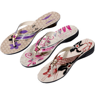 IndiWeaves Womens Purple  Pink  Red Casual Slippers (Pack Of 3 Pair) (870060714-IW)