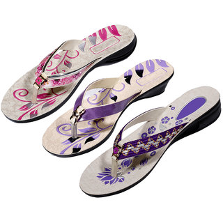 IndiWeaves Womens Pink  Purple  Purple Casual Slippers (Pack Of 3 Pair) (870070809-IW)