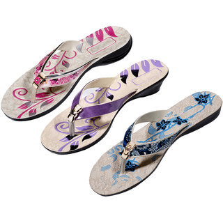 IndiWeaves Womens Pink  Purple  Blue Casual Slippers (Pack Of 3 Pair) (870070810-IW)