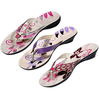 IndiWeaves Womens Pink  Purple  Pink Casual Slippers (Pack Of 3 Pair) (870070811-IW)