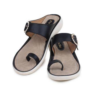 Do Bhai WomenS Black Wedge Heel Sandals (KM-3000-Black)