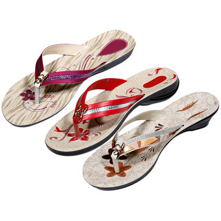 IndiWeaves Womens Maroon  Red  Brown Casual Slippers (Pack Of 3 Pair) (870030412-IW)