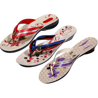IndiWeaves Womens Red  Multi  Purple Casual Slippers (Pack Of 3 Pair) (870040506-IW)