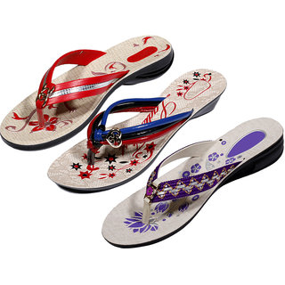 IndiWeaves Womens Red  Multi  Purple Casual Slippers (Pack Of 3 Pair) (870040509-IW)