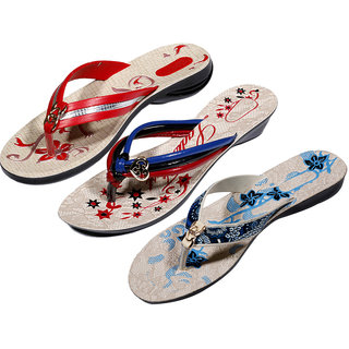 IndiWeaves Womens Red  Multi  Blue Casual Slippers (Pack Of 3 Pair) (870040510-IW)