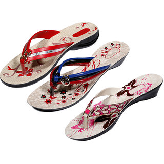 IndiWeaves Womens Red  Multi  Pink Casual Slippers (Pack Of 3 Pair) (870040511-IW)