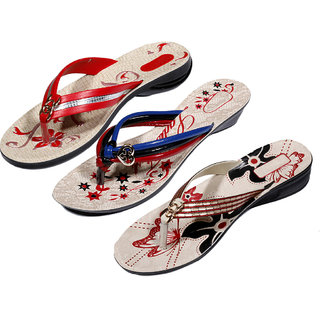 IndiWeaves Womens Red  Multi  Red Casual Slippers (Pack Of 3 Pair) (870040514-IW)