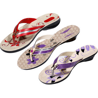 IndiWeaves Womens Red  Purple  Purple Casual Slippers (Pack Of 3 Pair) (870040608-IW)