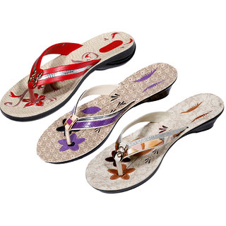 IndiWeaves Womens Red  Purple  Brown Casual Slippers (Pack Of 3 Pair) (870040612-IW)