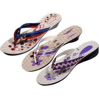 IndiWeaves Womens Multi  Purple  Purple Casual Slippers (Pack Of 3 Pair) (870050609-IW)