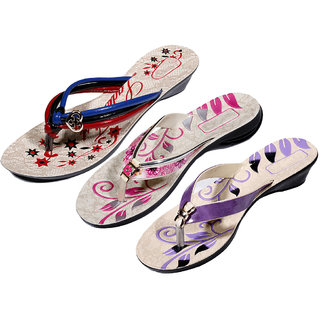 IndiWeaves Womens Multi  Pink  Purple Casual Slippers (Pack Of 3 Pair) (870050708-IW)