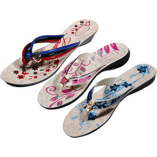 IndiWeaves Womens Multi  Pink  Blue Casual Slippers (Pack Of 3 Pair) (870050710-IW)