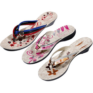 IndiWeaves Womens Multi  Pink  Brown Casual Slippers (Pack Of 3 Pair) (870050712-IW)