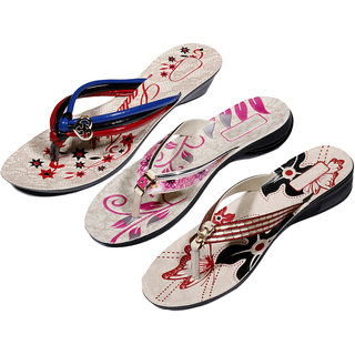 IndiWeaves Womens Multi  Pink  Red Casual Slippers (Pack Of 3 Pair) (870050714-IW)