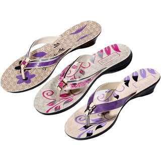IndiWeaves Womens Purple  Pink  Purple Casual Slippers (Pack Of 3 Pair) (870060708-IW)