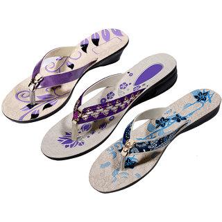 IndiWeaves Womens Purple  Purple  Blue Casual Slippers (Pack Of 3 Pair) (870080910-IW)