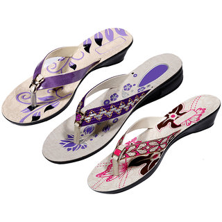IndiWeaves Womens Purple  Purple  Pink Casual Slippers (Pack Of 3 Pair) (870080911-IW)