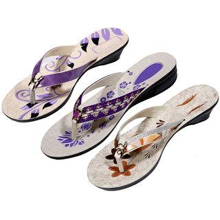 IndiWeaves Womens Purple  Purple  Brown Casual Slippers (Pack Of 3 Pair) (870080912-IW)