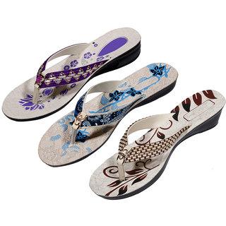 IndiWeaves Womens Purple  Blue  Maroon Casual Slippers (Pack Of 3 Pair) (870091013-IW)