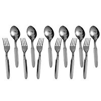Set Of 12 Stainless Steel Spoons With Forks - 92604293