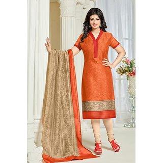 57d47c34fa Buy Sareemall Orange Printed Cotton Salwar Suit Material (Unstitched ...