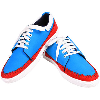 Tiacoo MenS Blue Casual Lace-Up Shoes