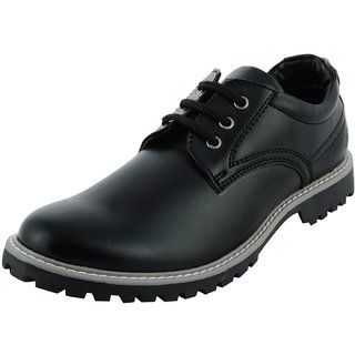 Royals Rugged Mens Black Faux Leather Shoes