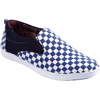 Stylos Mens White And Blue Canvas Shoes