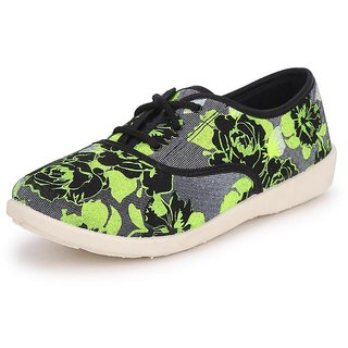 American Swan Womens Black Sneakers Lace-Up Shoes