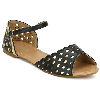 American Swan WomenS Berry Black Sandals