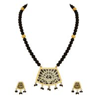Thewa Set With Black Beads Dancing Peacock In Garden Design