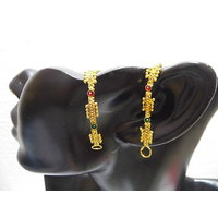 Gold Plated Ear Chain With Red And Green Stones