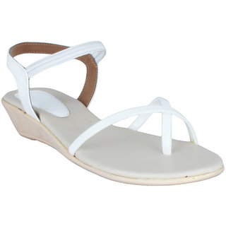 Legsway Womens White Wedge Heel Sandals