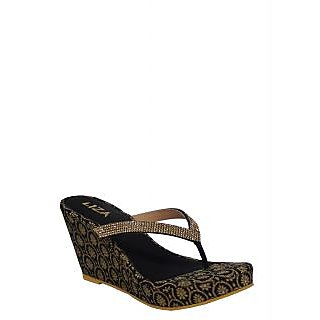 Liza Womens Black Slip On  Wedge Heel Sandals