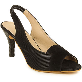 Lovely Chick Womens Black Round Toe Heel Sandals - 93168066