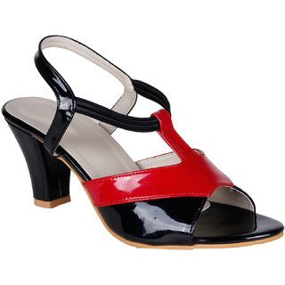 Lovely Chick Womens Black Round Toe Heel Sandals - 93179484