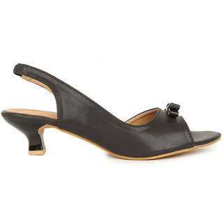 Lovely Chick Womens Black Round Toe Heel Sandals - 93179582