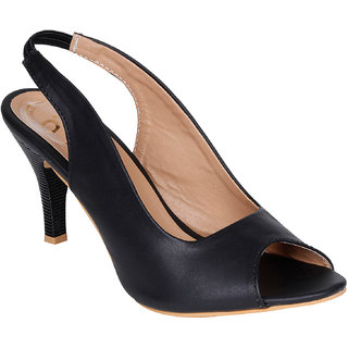 Lovely Chick Womens Black Round Toe Heel Sandals - 93184721