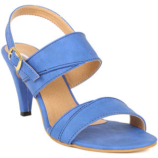 Lovely Chick Womens Blue Round Toe Heel Sandals