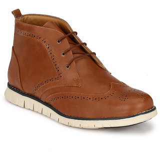 Footlodge Mens Tan Casuals Lace-Up Shoes