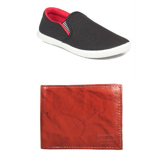 Rushaimi Men Black Red Casual Shoes And Brown Wallet