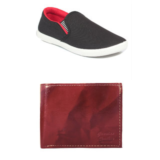 Rushaimi Men Black Red Casual Shoes And Tan Wallet