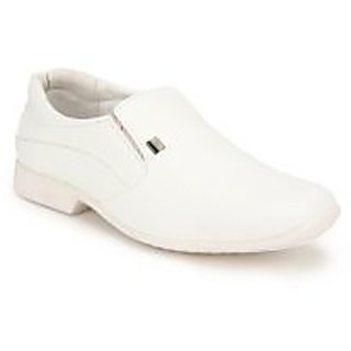 Action Dotcom MenS White Formal Slip On Shoes