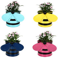 Trust Basket SET OF 4 - BEE PLANTERS TEAL,YELLOW,BLUE AND PINK
