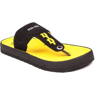 Foot Clone MenS Trendy Black Flip Flops - 93416752