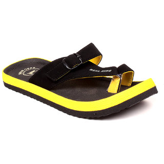 Foot Clone MenS Trendy Black Flip Flops - 93416712