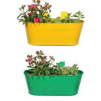 Trust Basket Set Of 2 -Oval Railing Planter -  Yellow And Dark Green