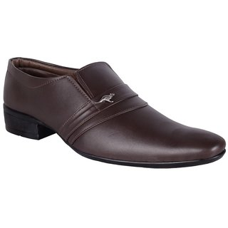Walkalite Mens Fine Quality Brown Color Slip-on Formal Shoes
