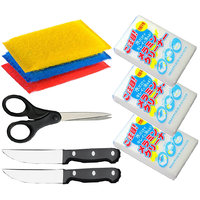 Magic Home And Kitchen Accessories 2 Pc Knife,1 Pc Scissors, 4 Pc Scrubber And 3 Pc Magic Cleaning Soap - 93825186